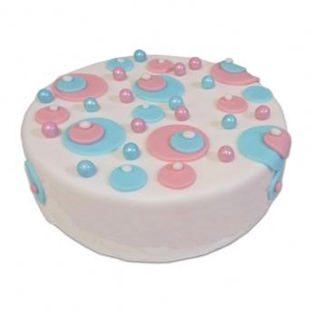 Geboorte verrassings taart roze blauw